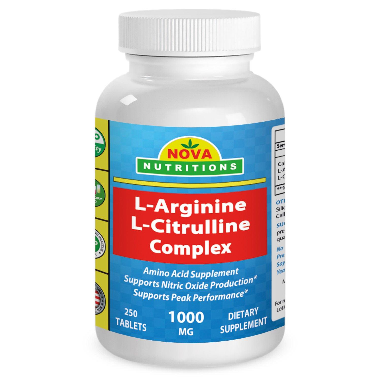 L-Arginine L-Citruline Complex 1000 Mg 250 Tablets By Nova Nutritions 6