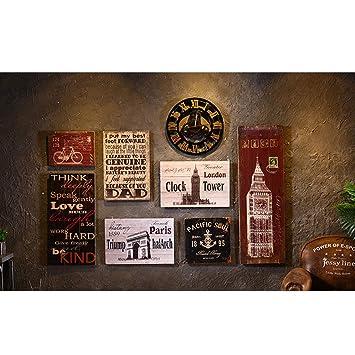 Tablero de Madera Vintage Pintura Bar Tienda de Ropa decoración de la Pared Viento Industrial Tienda de Barbacoa Colgante de Pared Hogar (Color : Brown, ...