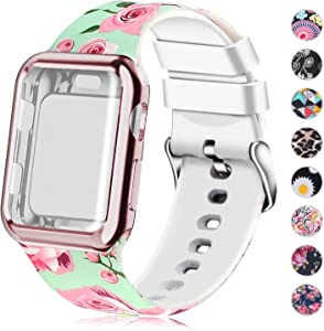 Compatible for Apple Watch Band 38mm with Screen Protector Case, Soft Silicone Sport Wristband for Apple Watch iwatch Series 3 2 1 (38mm,Pink Rose)