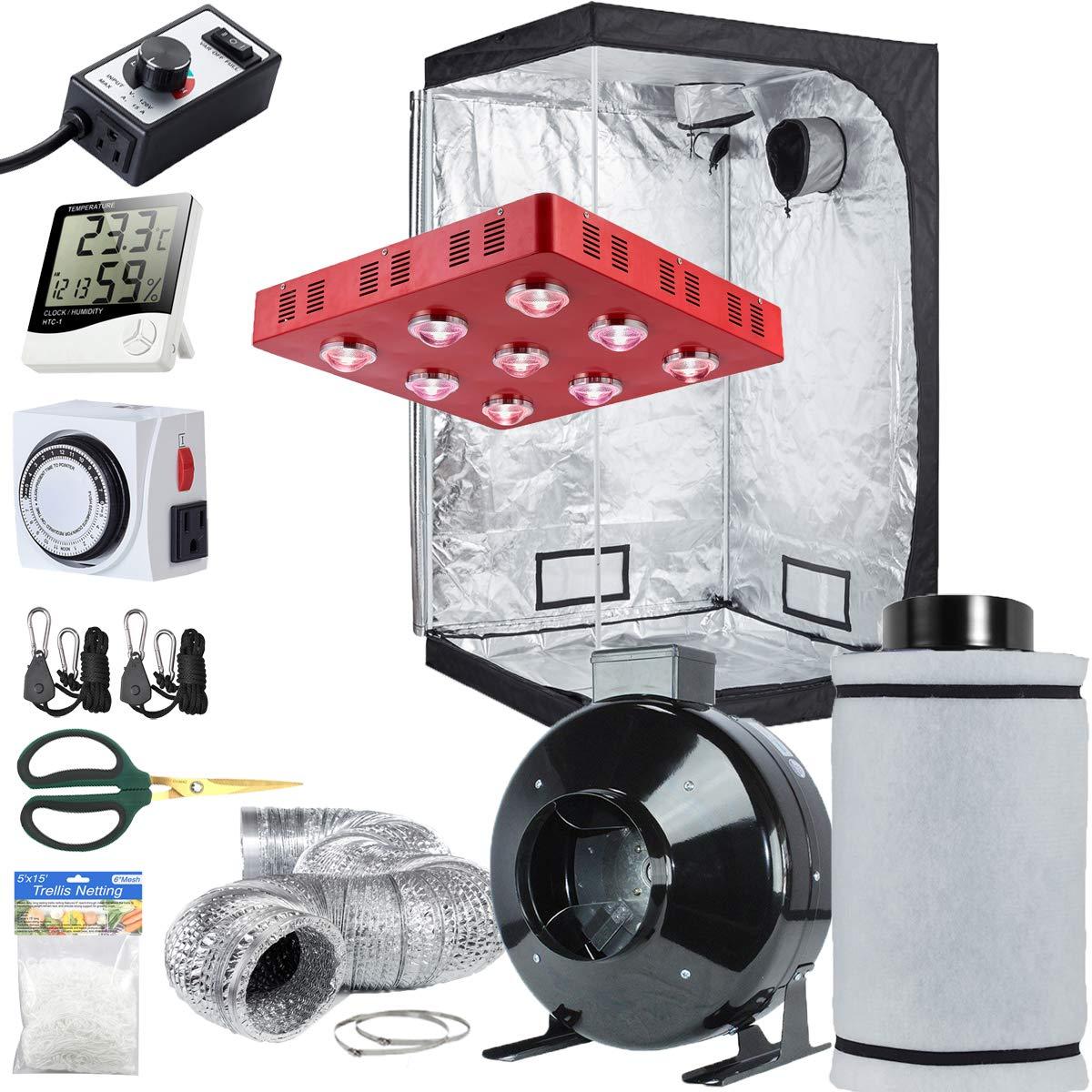 TopoLite Grow Tent Setup Complete Kit LED 1800W Grow Light + 6'' Filter Fan Kit + 48''x48''x80'' Dark Room + Hydroponics Indoor Plants Growing System Accessories (48''x48''x80'')