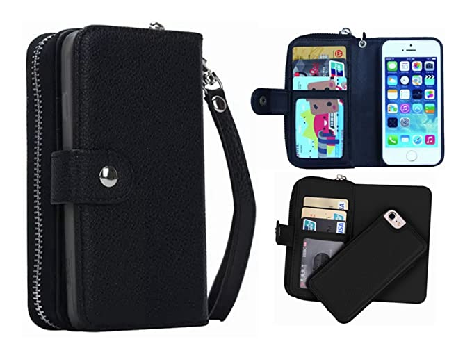 free shipping e7559 e7463 iPhone 5/5S/SE Wallet Case, Hynice iPhone 5/5S/SE Wallet Purse Case Leather  Zipper Case with Credit Card Slots and Magnetic Detachable Slim Cover for  ...