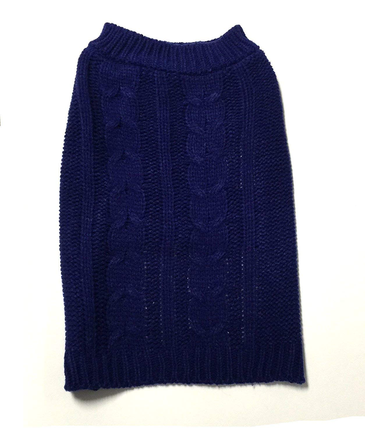 Navy X-Small Navy X-Small Midlee Cable Knit Dog Sweater (X-Small, Navy)