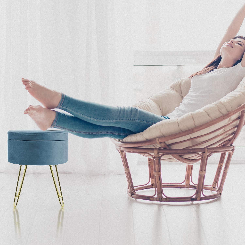 Gold Legs - Red Magenta Removable Seat Lid Footstool Side Table Sorbus Velvet Footrest Stool Round Mid-Century Modern Luxe Velvet Ottoman Gold Leg Design