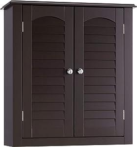 Elegant Home Fashion Danbury Wall Cabinet with 2 Doors-Espresso