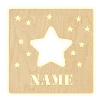 Lampe murale en forme d\'étoile pour chambre d\'enfant, lampe personnalisée  avec nom veilleuse, lampe LED Applique murale en bois garçon, cadeau pour  ...