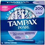 Tampax Pearl Tampons with Plastic Applicator, Light Absorbency, Unscented, 50 Count-Pack of 4 (200 Count Total) (packaging may vary)