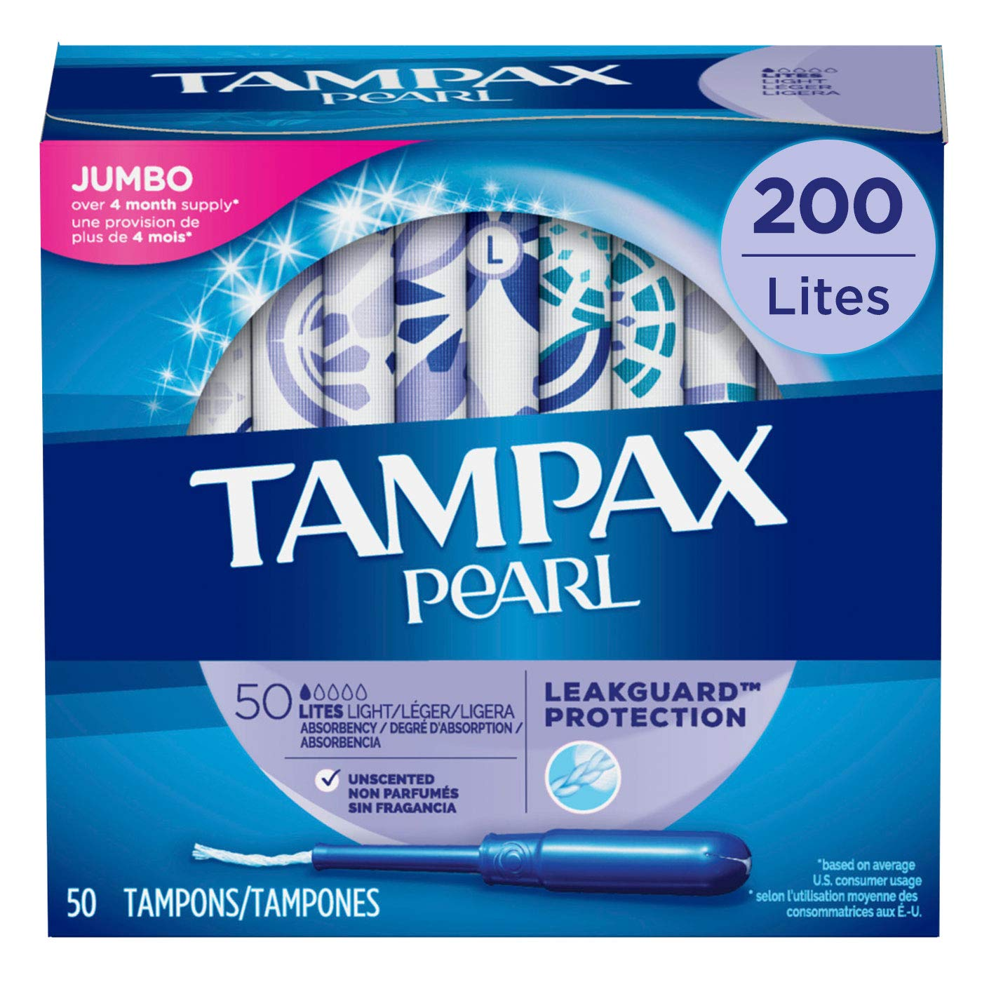 Tampax Pearl Tampons with Plastic Applicator, Light Absorbency, Unscented, 50 Count-Pack of 4 (200 Count Total) ( packaging may vary)