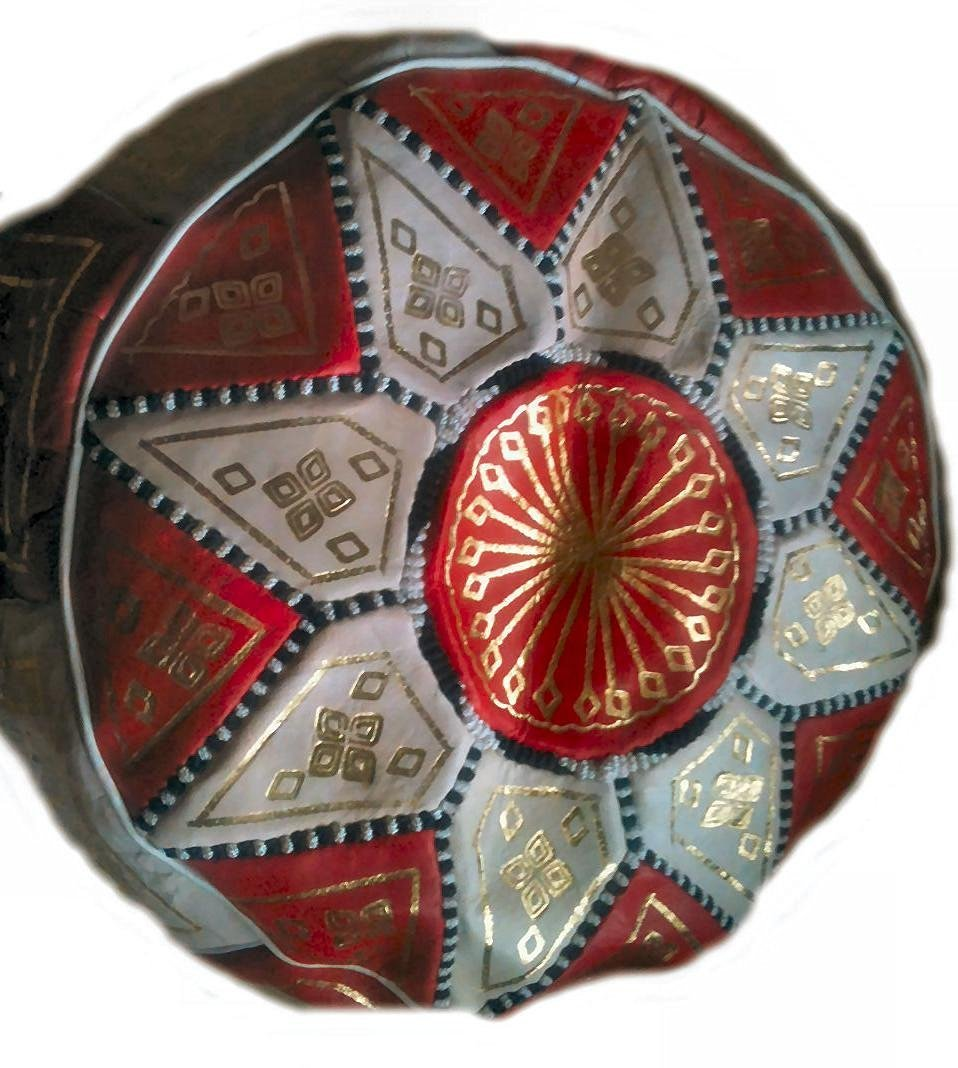 Terrapin Trading Fair Trade Moroccan Leather Star Pouffe - Choose from 10 Colours (Black & Blue) Laqlib Marrakech