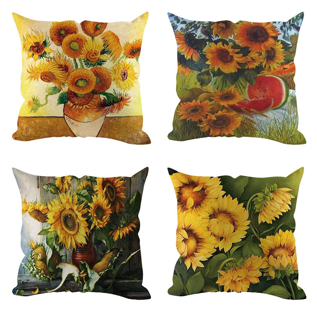 WWFFOO Pack of 4 Flower Decoration Linen Decor Outdoor ...