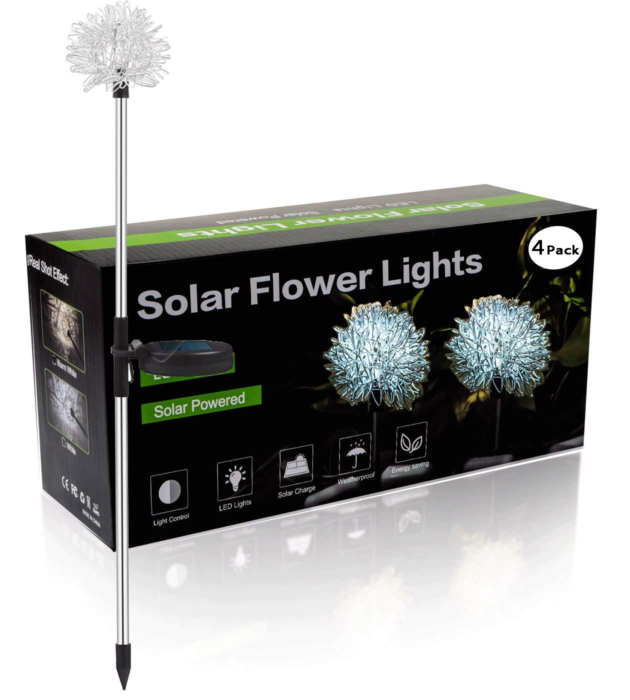 YIYAYIYAYO 4 Pack Solar Garden Lights Outdoor, LED Stake Landscape Lighting with Dandelion Flower, Waterproof/Auto On/Off - Decorative Figurine Lights for Garden/Patio/Landscape/Pathway/Backyard