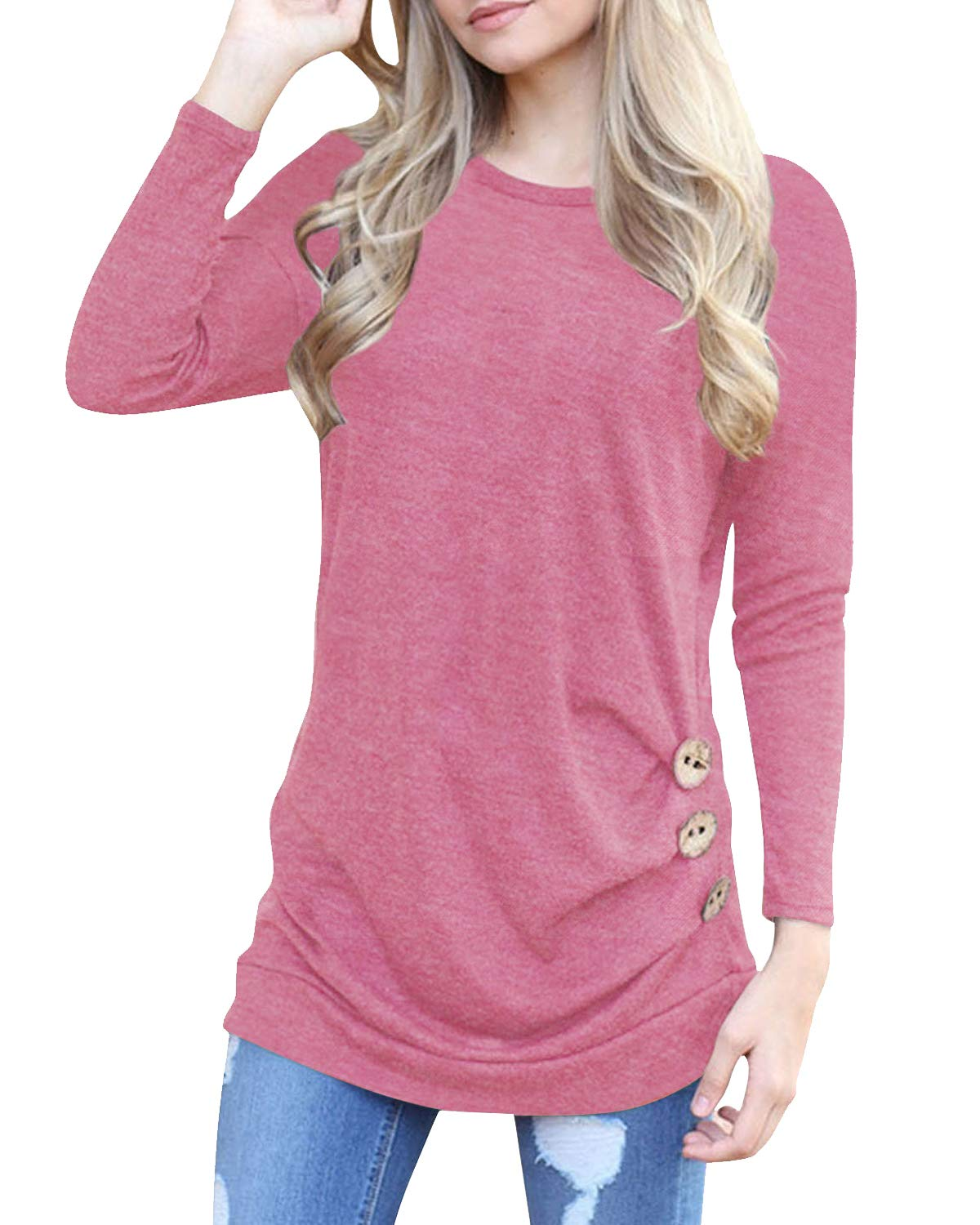 deesdail Womens Long Sleeve Casual T Shirts Button Trim Loose Tunic Tops Pink
