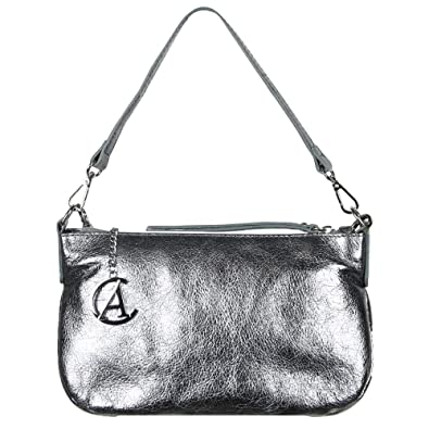 f3f6ad7555be Alex & Co Nevada Womens Metallic Gunmetal Leather Shoulder Bag One Size  Gunmetal