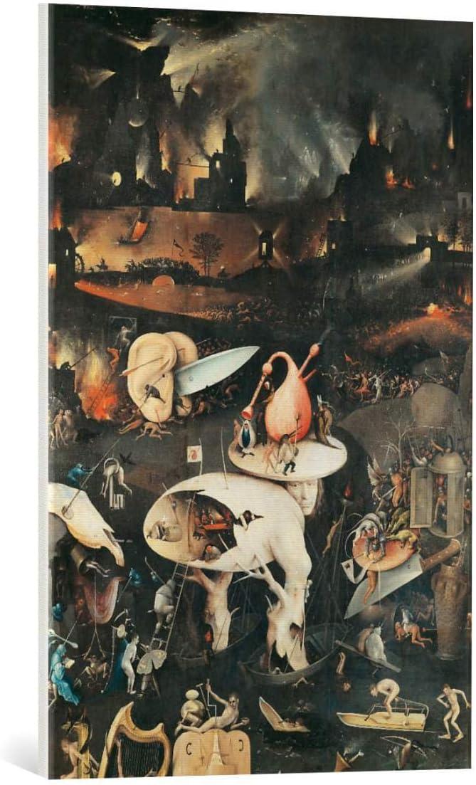 Argent Bross/é en Cadre de Haute qualit/é Impression dart d/écorative 40x60 cm Kunst f/ür Alle Image encadr/ée: Hieronymus Bosch Der Garten der L/üste rechter Fl/ügel H/ölle Ausschnitt