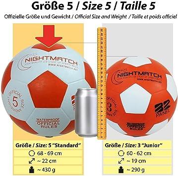 NIGHTMATCH Balón de Fútbol Ilumina Incl. Bomba de balón - LED ...