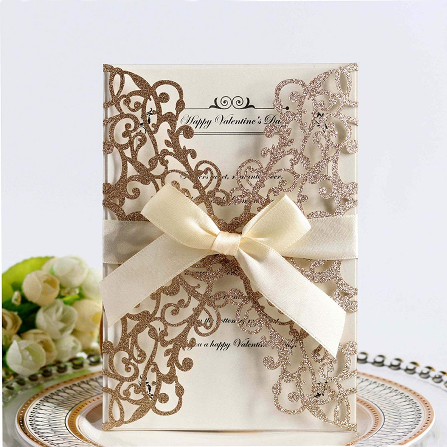 100Pcs Glitter Paper Laser Cut Wedding Invitation Card /& Ribbon Customize Business Greeting Card Birthday Wedding Party Supplies,Only White Envelopes,180X125 Mm