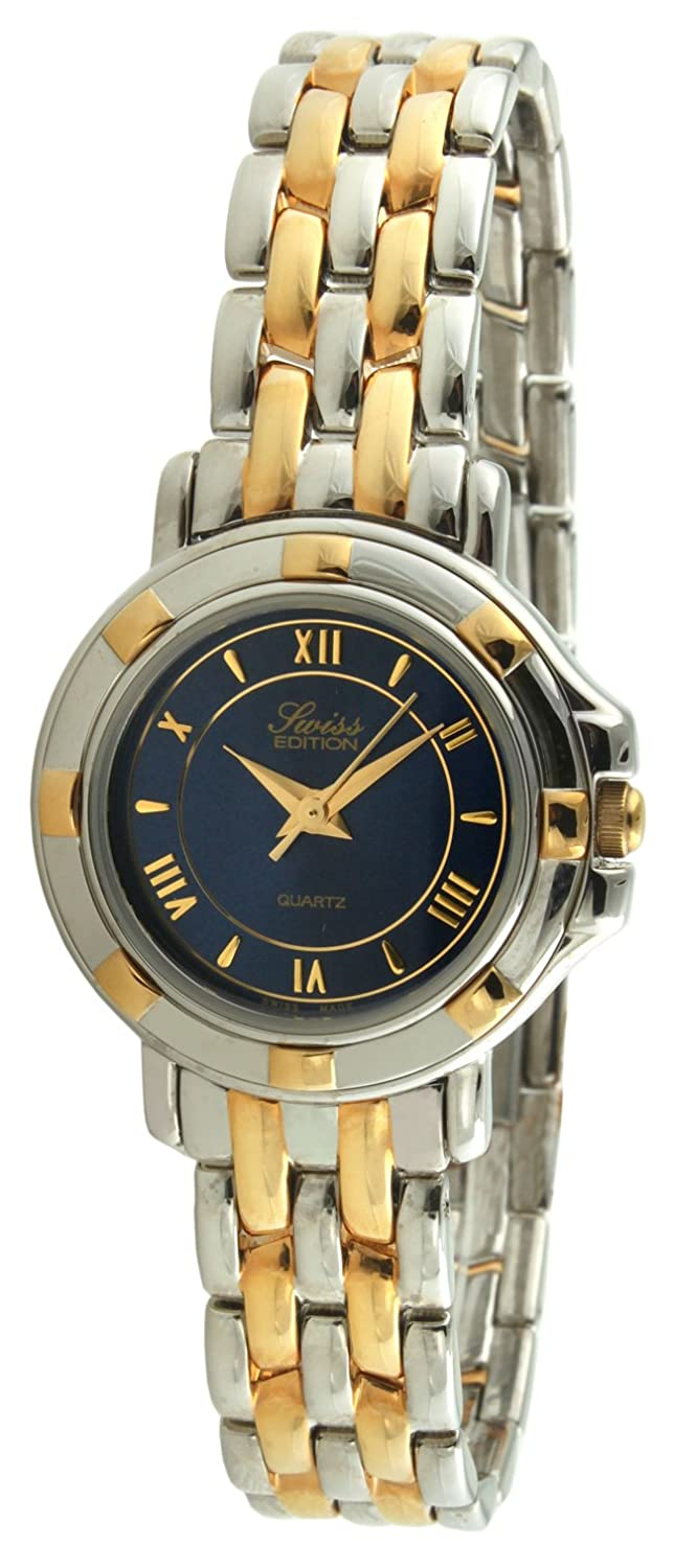 Swiss Edition Women s Luxury Bracelet Watch with Two Tone Gold Plated Sport Bezel, Blue Dial and Swiss Made Analog Quartz Movement
