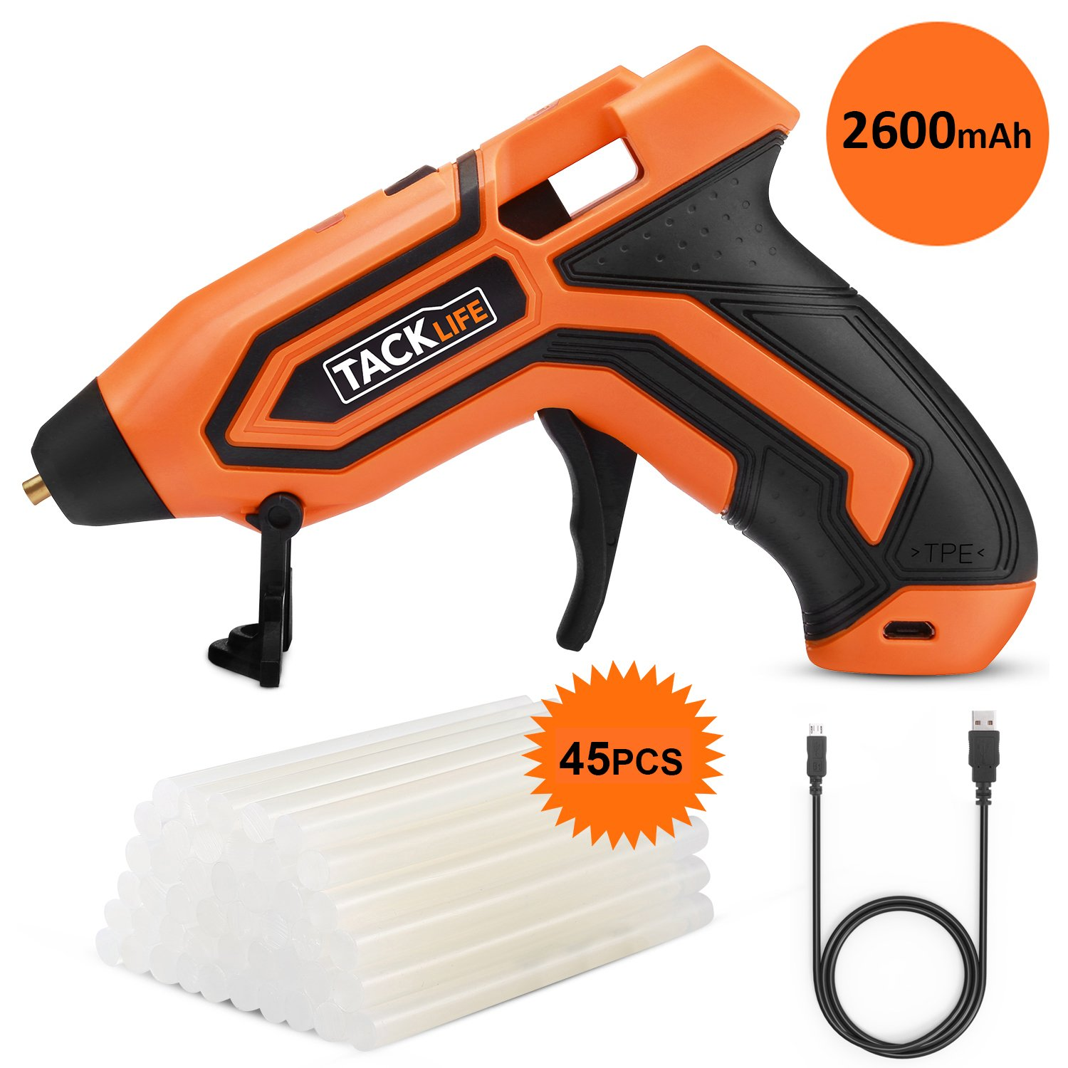 Glue Gun, 3.6V Mini Cordless Glue Gun 2600mAh-18650 USB Rechargeable Li-ion Battery with 45 PCS EVA Glue Sticks Flexible Trigger & Heating up Quickly TACKLIFE