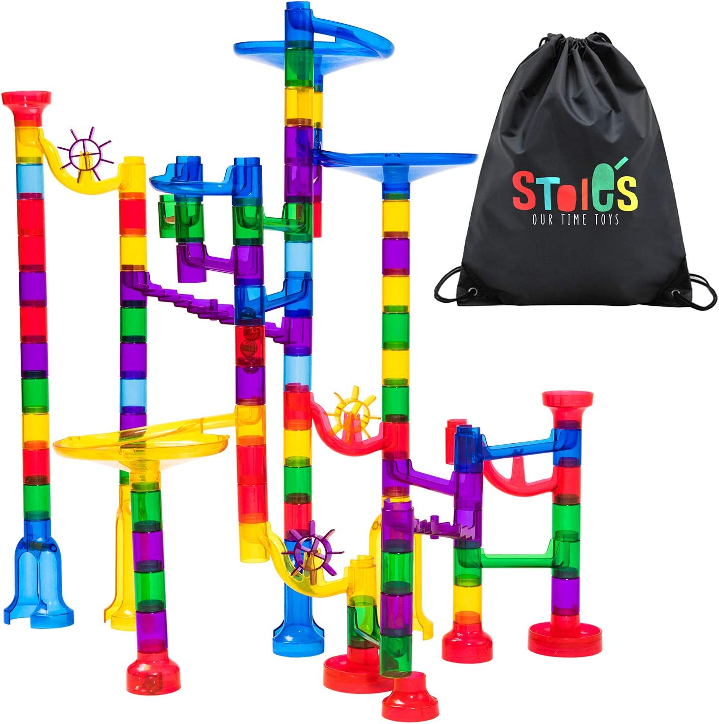 Translucent Marble Maze Race Game Set--109Pcs Colorful Educational Construction Maze Block Toy Set for Kids Parent-Child Game Wekity Marble Run Track Toy Set Colorful
