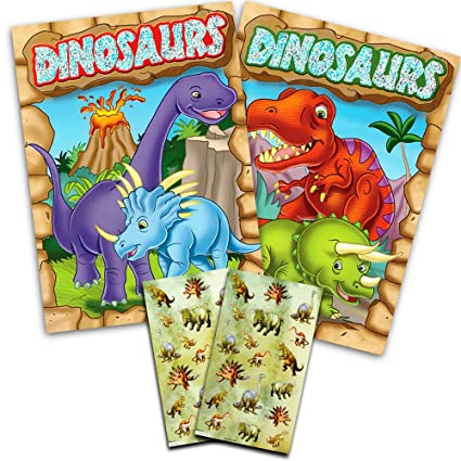 Dinosaur Coloring Book Super Set Kids Toddler 2 Books And Over 50 Stickers