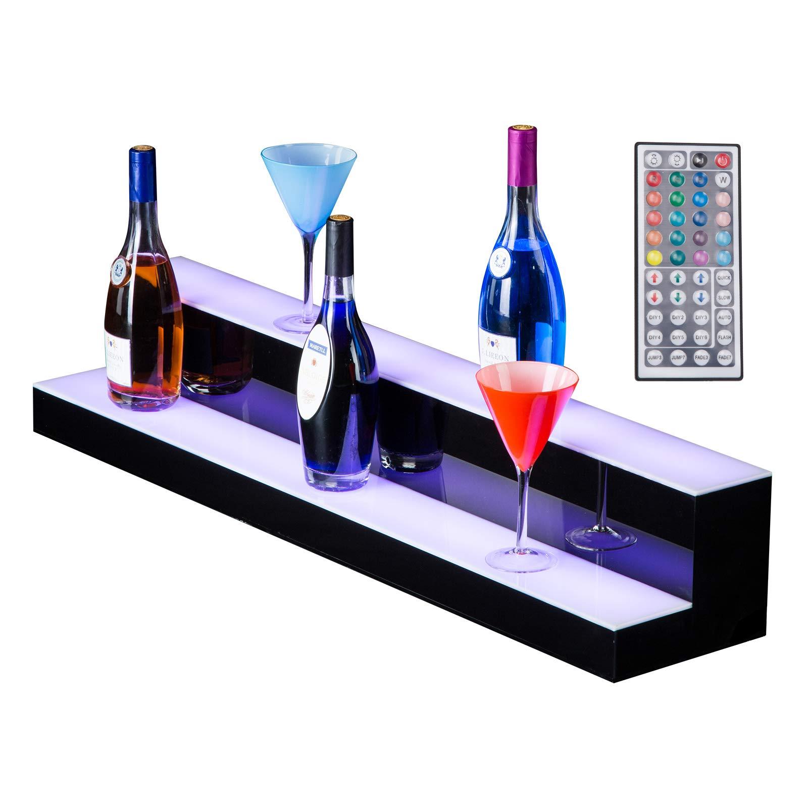 SUNCOO LED Lighted Liquor Bottle Display 40'' 2 Step Illuminated Bottle Shelf 2 Tier Home Bar Drinks Lighting Shelves with Remote Control