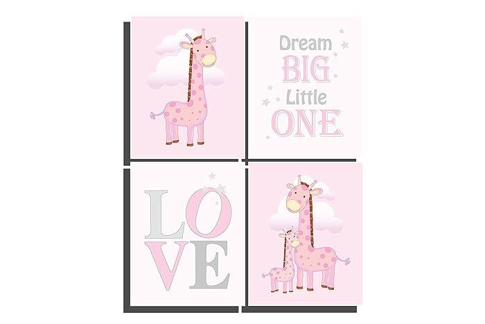 Amazon.com: Pink Nursery Decor Baby Girls Room Set of 4 Unframed ...