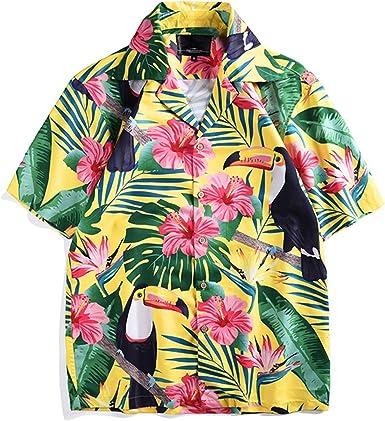 Camisa Suelta Pareja Camisa con Estampado de tucán Camisa de Estilo Tropical de Manga Corta y de Gran tamaño para Vacaciones: Amazon.es: Ropa y accesorios