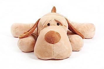 YunNasi gigante perro de peluche tendido boca abajo hecho a mano 120cm marrón