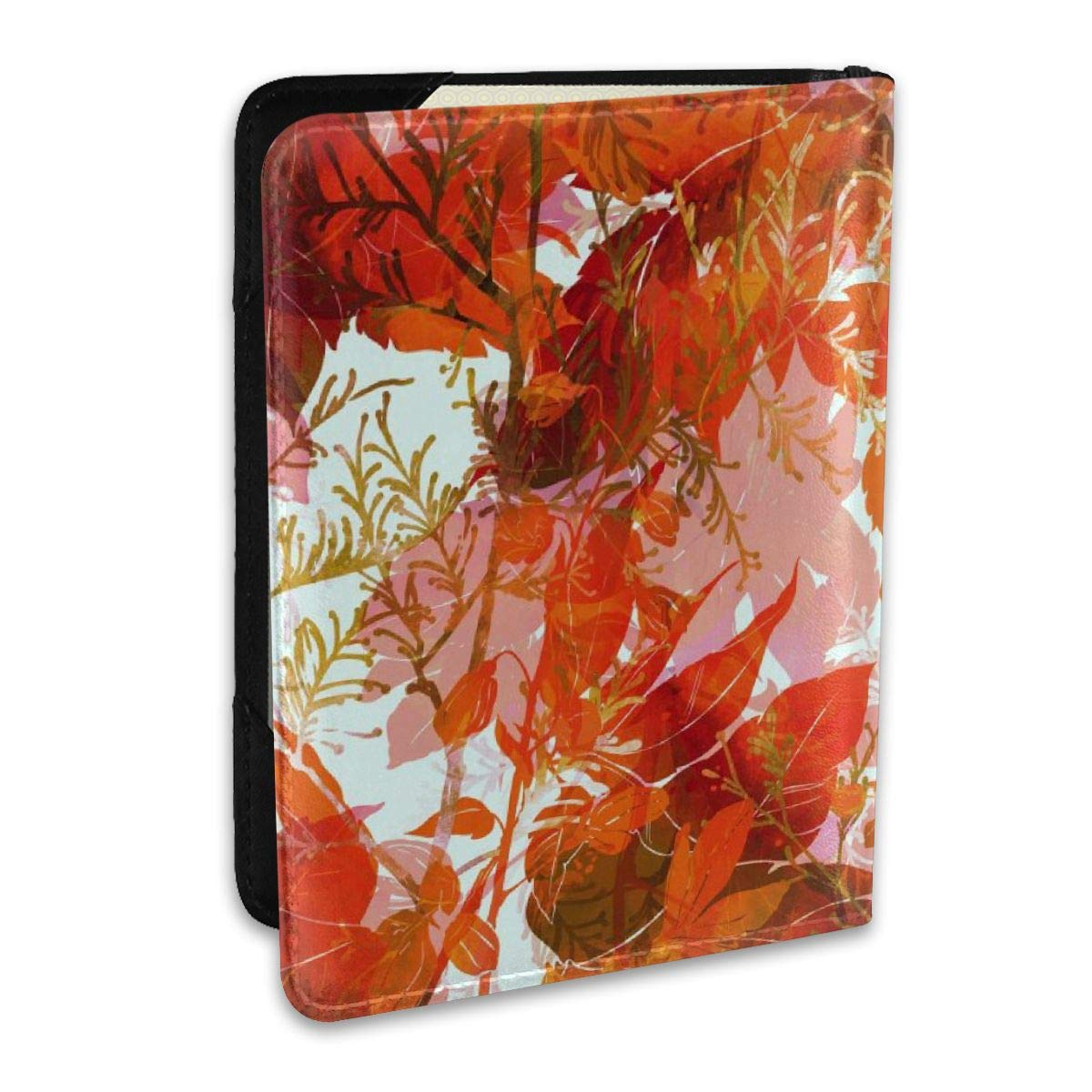 Herbs Flowers And Leaves Prints Fashion Leather Passport Holder Cover Case Travel Wallet 6.5 In