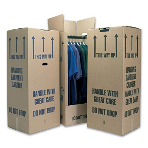 Phoenix Supplies 4 Tall Wardrobe Boxes Removal Garment Carriers 20 x 18 x 48, strong double wall cardboard, FREE express delivery