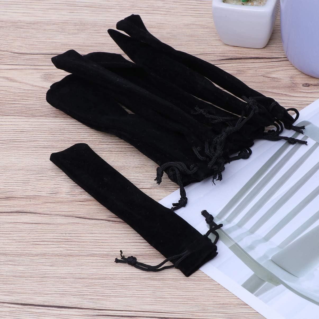 STOBOK 25 pcs noir velours stylo pochette pochette titulaire cordon de serrage stylo poche unique stylo sac portable sacs de rangement /étui /à crayons