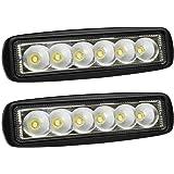 LTC 2 Pack Black Spreader LED Deck/Marine Lights for Boat (Flood Light) 12V 18W