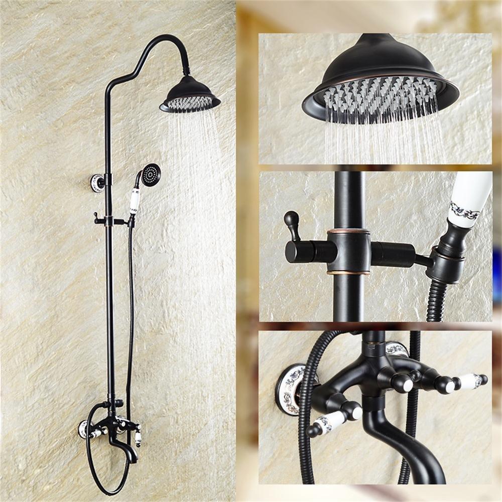 シャワーキット ブラック銅シャワーセットオール銅ヨーロッパスタイルシャワースプリンクラーレインコートシャワー B07PDY8HKJ