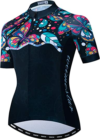 Ciclismo Jersey mujer manga corta bicicleta ciclismo camisas cremallera completa bicicleta Tops ciclismo ropa con 3 bolsillos