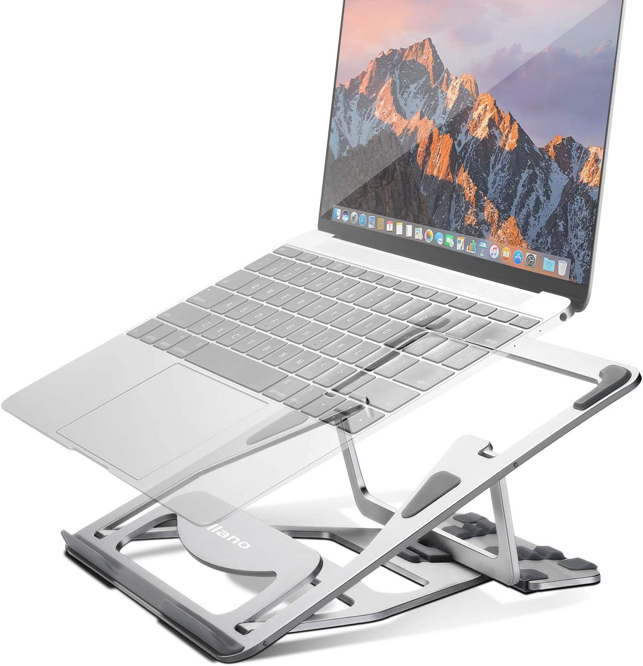 "Aluminum Laptop Stand Adjustable, Foldable Ergonomic Portable Laptop Riser, Ventilated Stand Holder for MacBook Pro/Air, HP, Dell XPS, Lenovo More 10-15.6"" Laptops"