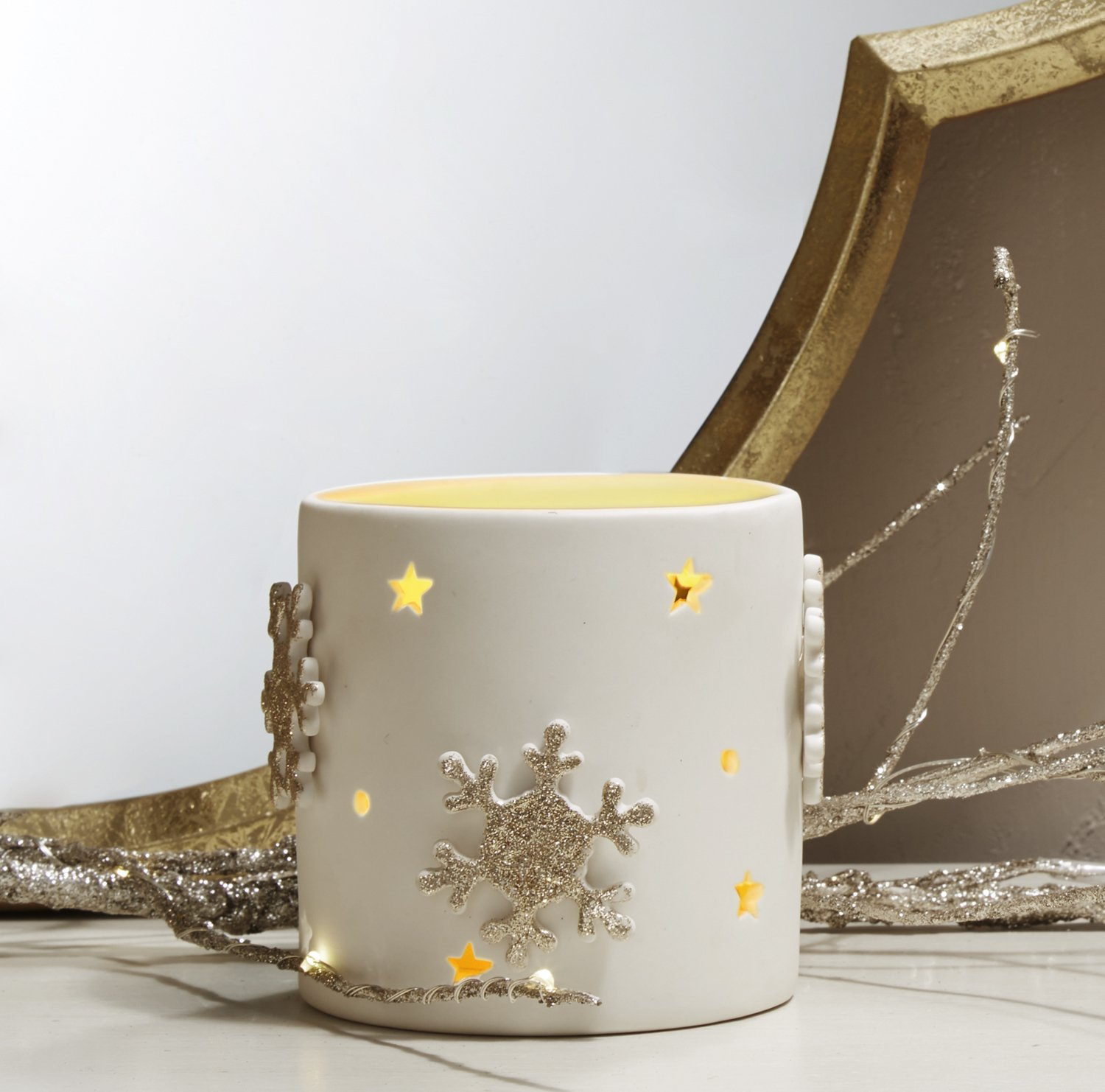 3.5'' Pillar Candle Holder, White Porcelain, Gold Snowflake Detail - For Winter, Christmas and Holiday Decor by LampLust
