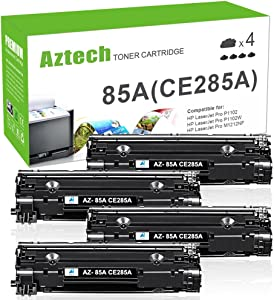 Aztech Compatible Toner Cartridge Replacement for HP CE285A 85A CE285 Laserjet Pro P1102W M1212nf M1217nfw P1100 M1210 (Black, 4-Pack)