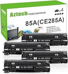 Aztech Compatible Toner Cartridge Replacement for HP CE285A 85A CE285 Laserjet Pro P1102W M1212nf M1217nfw P1100 M1210 (Black, 4-Pack)