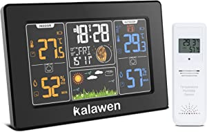 Kalawen Weather Station Wireless Indoor Outdoor Thermometer with Atomic Clock, Color Display Digital Weather Forecast Station Thermometer with Moon Phase Black
