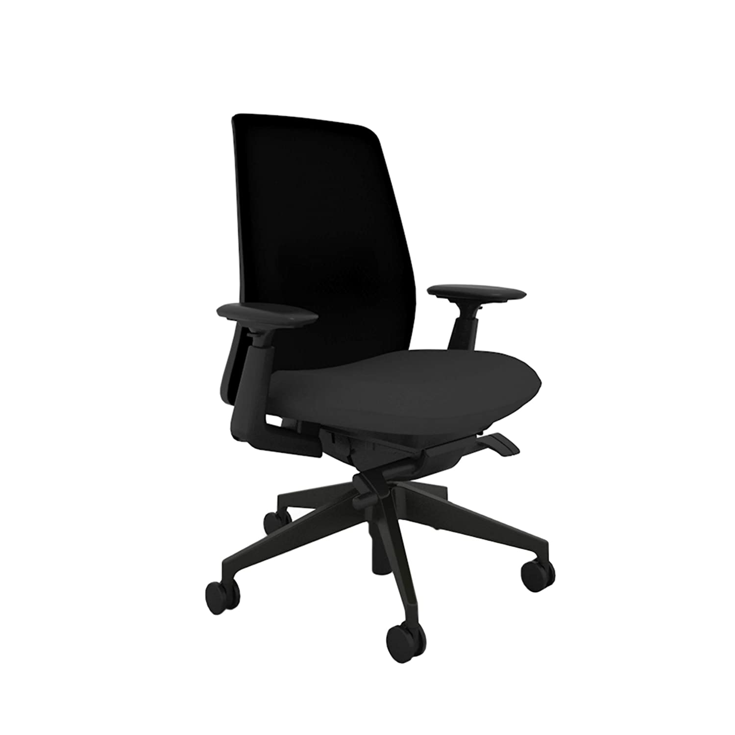 Haworth Soji Office Chair with Ergonomic Adjustments and Flexible Mesh Back, Carbon