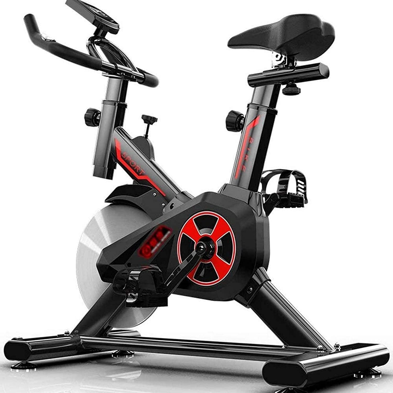 Wghz Home Spinning Bicycle Aerobic Sports Indoor Exercise Bike with 8KG Large Flywheel, Low-Noise Belt Drive System, Adjustable Height Handlebar & Seat, LCD Display