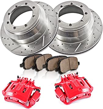 Ceramic Pads Performance Kit Calipers + 2 Quiet Low Dust REAR Powder Coated Red Rotors 4 2
