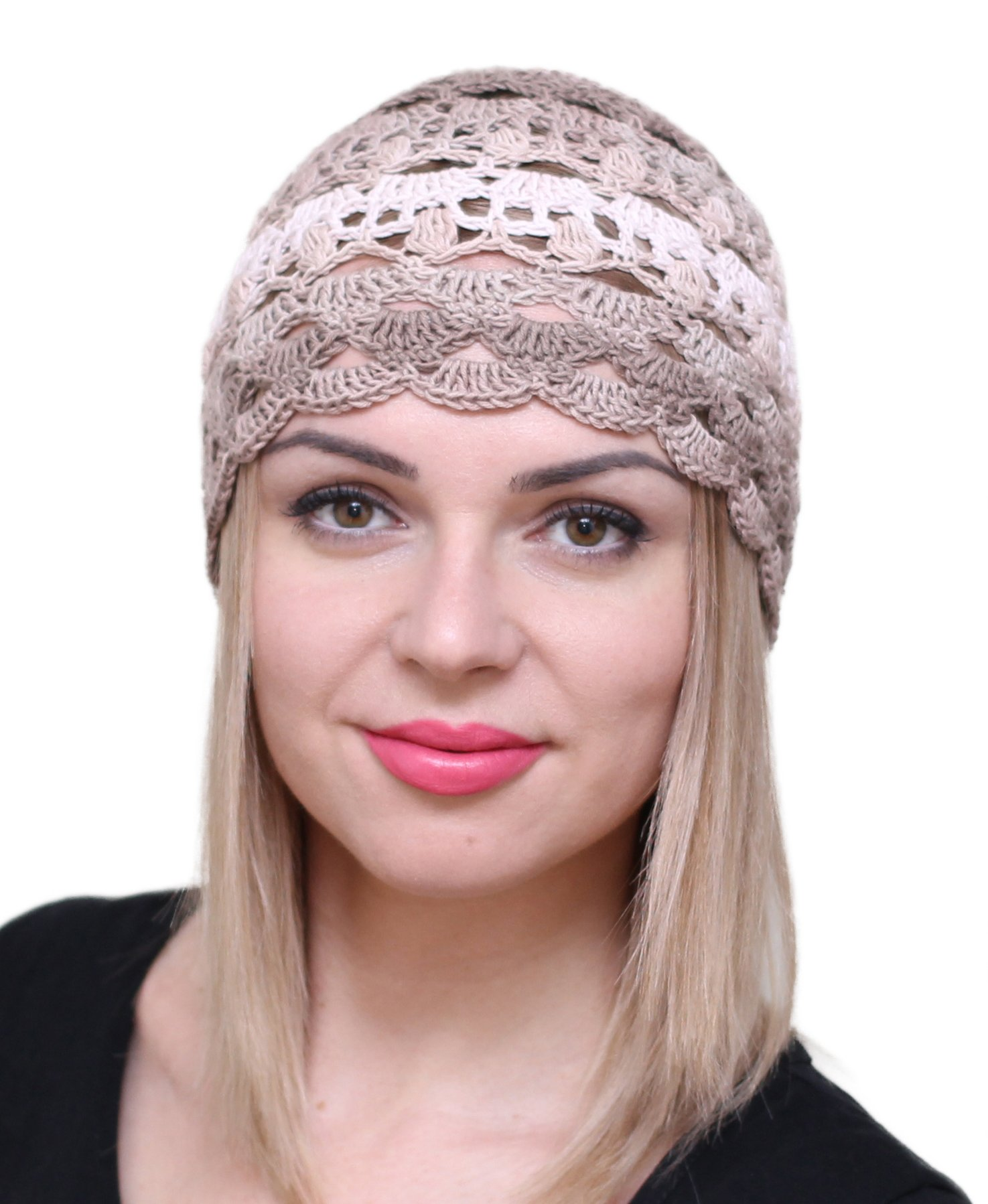 NFB Fascinator Hats for Women Ladies Summer Beanie Cotton Cloche Crochet caps (Сappuccino)