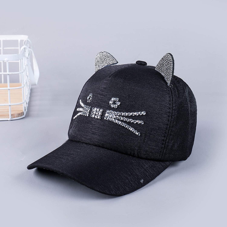 Girls Flashing Rhinestone Baseball Cap with Cute Cat Ears Hip Hop Hats for Women Casual Trucker Feminino