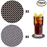 IHUIXINHE Coaster Set, Set of 10 Premium Quality Woven PVC Drink Coasters, Protect Furniture From Water Marks & Damage, Modern, Thin, Leakproof & Non Slip (Black & Silver)