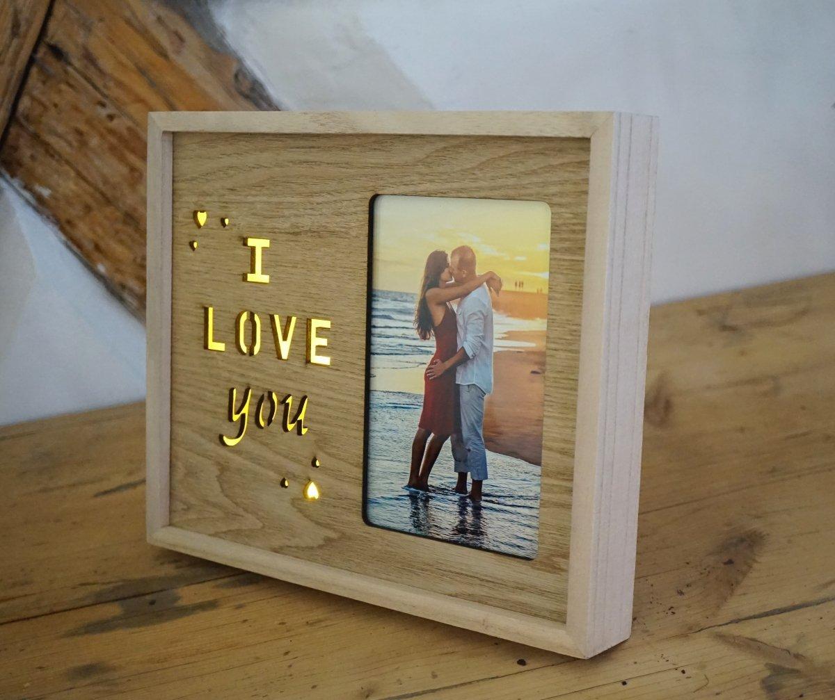 Bilderrahmen I Love You aus Holz | Ich liebe dich mit kleinen Herzen ...