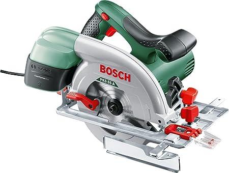 Scie circulaire filaire Bosch - PKS 55 A (1200W, livrée avec lame pour bois, butée Parallèle, emballage carton)