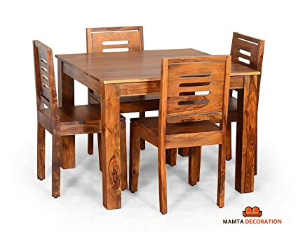Mamta Decoration Sheesham Wood Dining Table With 4 Chairs Home And Living Room Teak Finish Brown