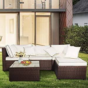 Hooseng Rattan Garden Furniture Set, 5 Pieces Outdoor Cushioned Seat Wicker Sofa Furniture with Glass Coffee Table for Patio, Courtyard, Lawn (Brown)