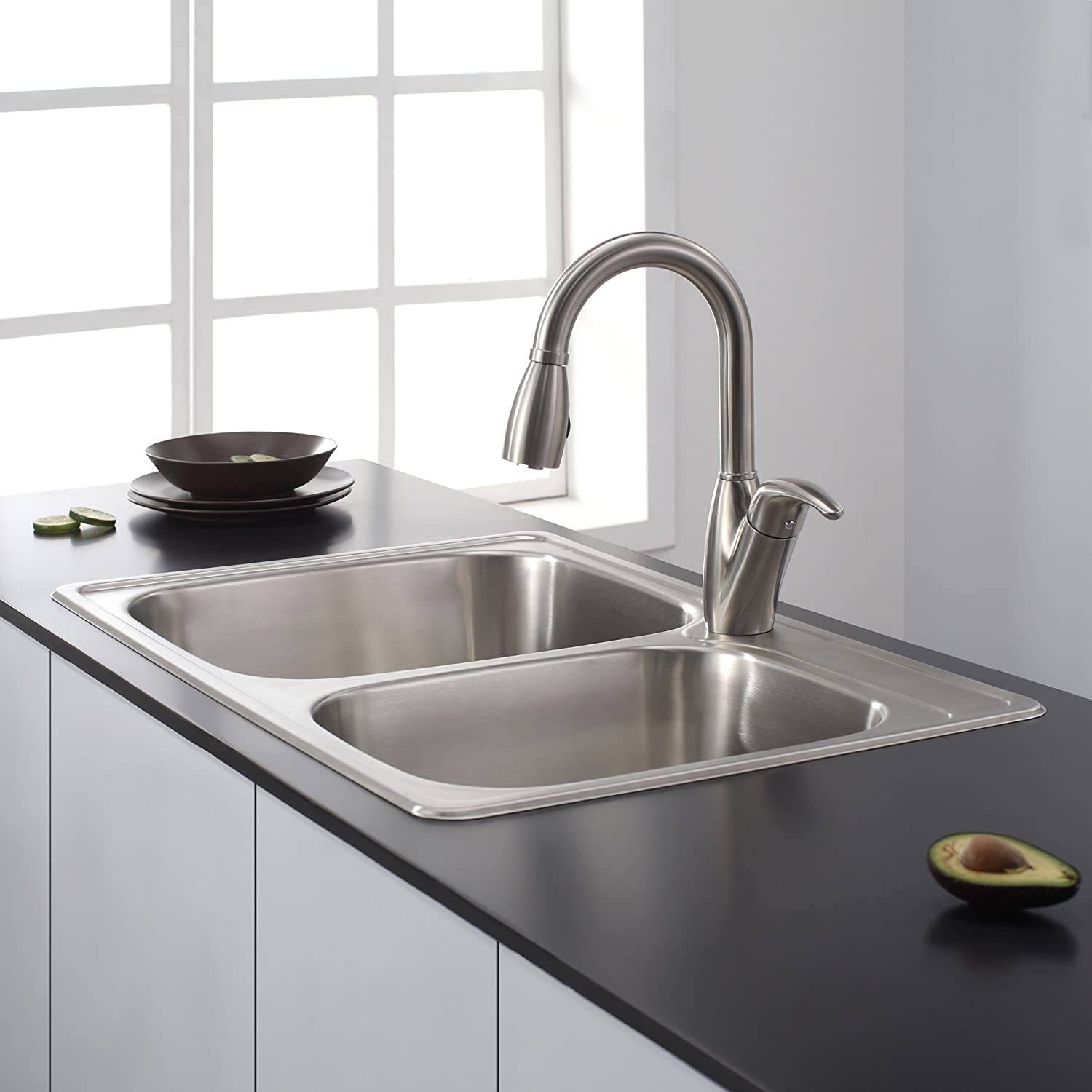 Kraus KTM32 33 Inch Topmount 60/40 Double Bowl 18 Gauge Stainless Steel  Kitchen Sink     Amazon.com