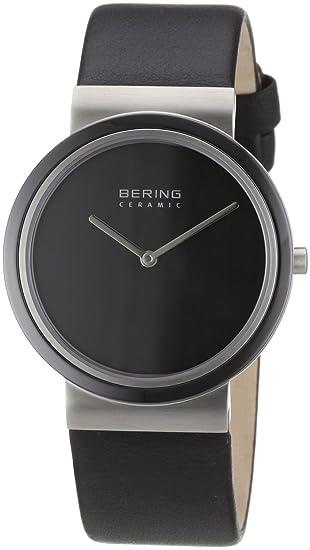 Bering Ceramic - Reloj analógico de caballero de cuarzo con correa de piel negra - sumergible